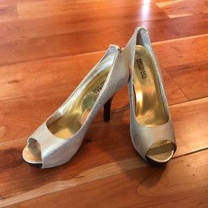 Michael Kors Gold Peep-toe Heels Size 8